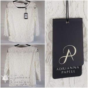 Adrianna Papell White Lace Blouse